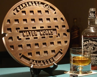 """Manhole cover - Man Cave - Custom Sewer Cover - 12"""" Personalized Sewer Cover - Corporate Gift - Housewarming - Groomsman Gift"""