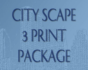 Skyline City Scape 3 Print Package - 8 x 10 Choose Your Color
