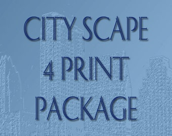 Skyline City Scape 4 Print Package - 8 x 10 Choose Your Image and Color