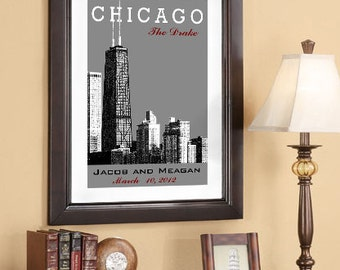 Wedding Date Art - Personalized Date Print.- Wedding Anniversary Date - Chicago Skyline 16x24 Wedding Poster - Style A - Choose your City
