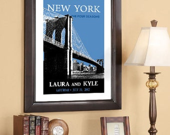 Wedding Poster 20x30 - Brooklyn Bridge - New York Skyline  - Choose your city image and color - Style C