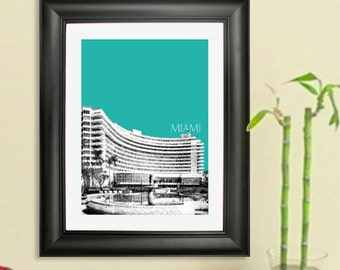 Miami Skyline Poster - Miami Fontainebleau Hotel Art Print - 8 x 10 Choose Your Color
