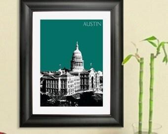 Austin Skyline Capital Building Poster Art Print, 8x10 - Choose your color