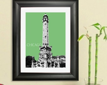 Chicago Skyline Print - Chicago Water Tower - City Skyline Art Print Poster, 8x10 - Choose your color