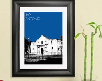 San Antonio City Skyline - The Alamo Poster -  Texas Skyline Art Print , 8x10 - Choose your color