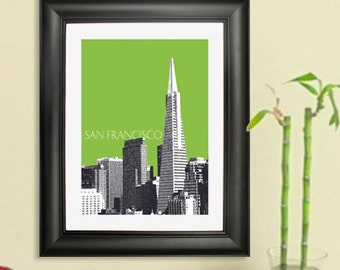 San Francisco City Skyline - Transamerica Pyramid Poster - San Francisco Art Print , 8x10 - Choose your color