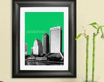 Jacksonville Skyline Poster - Jacksonville Florida City Skyline - Art Print - 8 x 10 Choose Your Color
