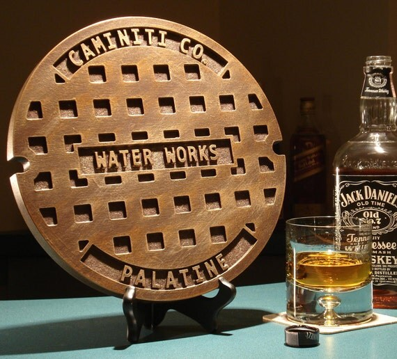 Man Cave Typography Sewer Cover.  A personalized wood carved, Housewarming, Groomsman gag Gift