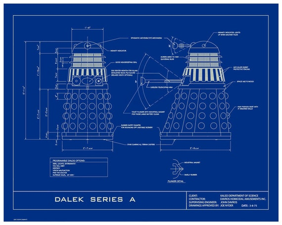 "Dr. Who Dalek Humorous 16x20  Limited Edition Blueprint Poster.  ""No Flying Daleks Here"""