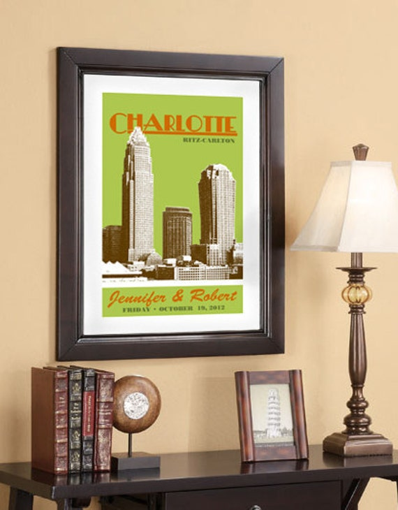 City Skyline Wedding Poster 16x24 - Charlotte Skyline - Charlotte Poster Art Print - Choose your city image and color - Style D