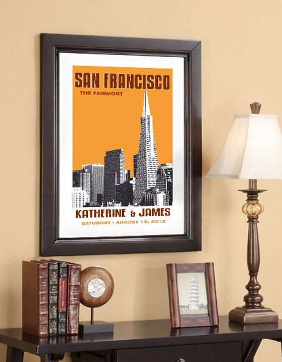 Wedding Gift 20x30 Poster San Francisco Skyline Choose