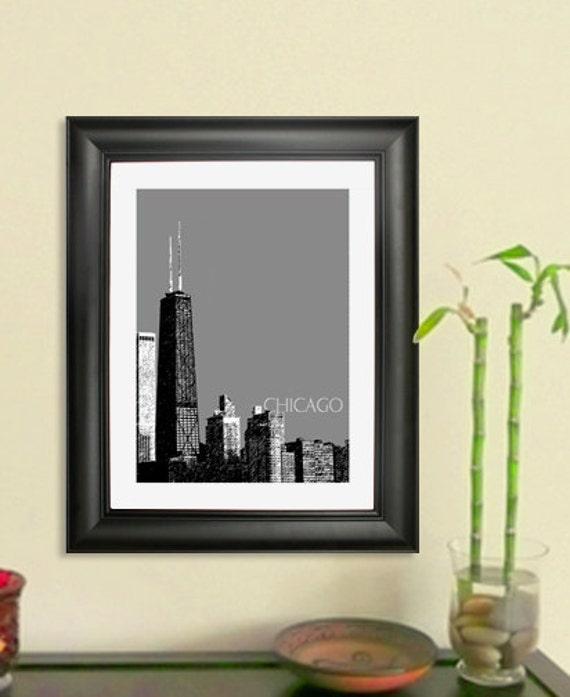 Chicago Skyline John Hancock Building Poster Art Print, 8x10 - Choose your color