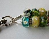 Beaded Keychain with Pandora Style Glass Beads.