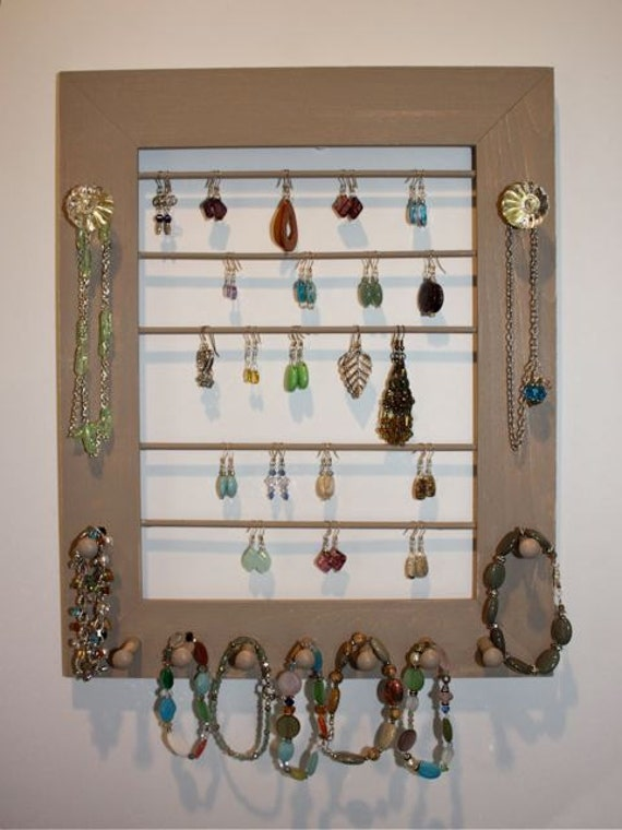 Earring Holder Jewelry Frame in Natural Earth tones Glass Knobs Brass.