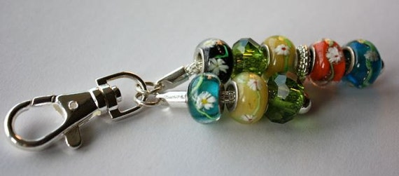 Beaded Keychain with Pandora Style Glass Beads.