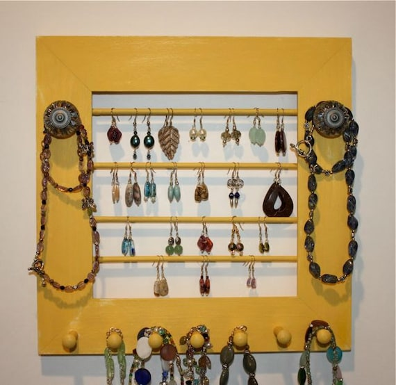Yellow Earring and Jewelry Holder Display Frame Organize Storage Wall Mounted.