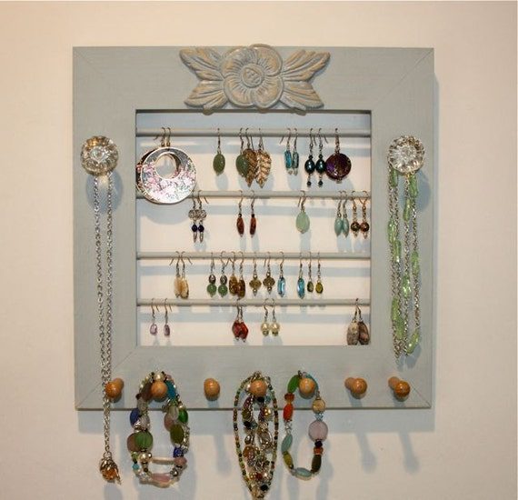 Wood Jewelry Holder with 4 Rows for Earrings.