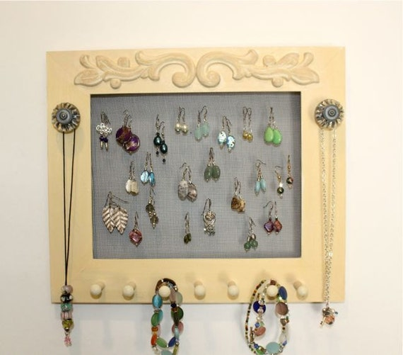 Jewelry Frame Organizer Painted Pale Yellow.