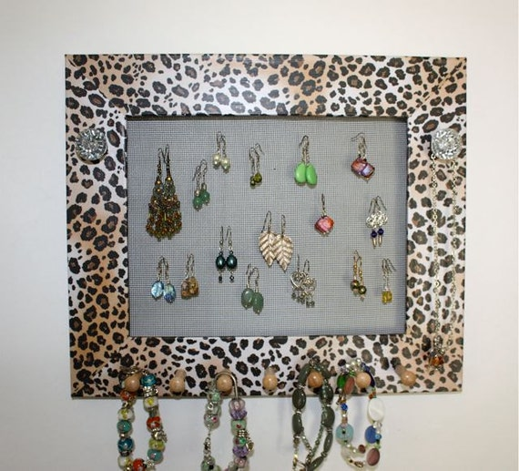 Earring Holder Jewelry Frame Leopard Print Paper.