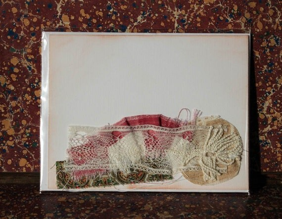 Fabric and lace collaged mixed-media all occasion blank greeting card