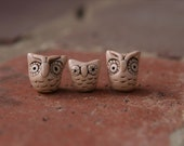 Three cute little polymer clay owls beads