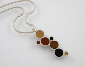 Black and Brown Resin and Sterling Silver Bubble Necklace