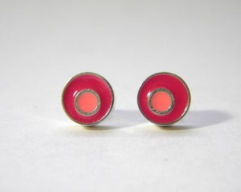 Circles Post Silver and Resin Earring in Pink and Coral