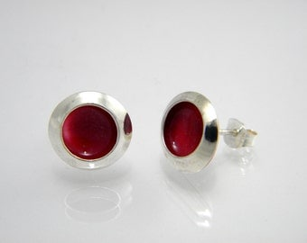 Sterling Silver and Shimmery Raspberry Resin Post Earrings