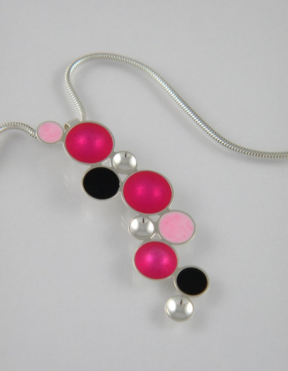 Resin and Sterling Silver Cascading Bubble Pendant in Fuchsia, Pink, and Black