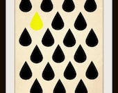 Sunshine is coming, Yellow, Sunshine, Happy, Pattern, Modern, Design Prints, Shine, Drops, Rain Drops, Sun