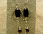 Smokey quartz - sterling silver-wire wrapped - silver teardrops  E141
