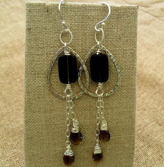 Smokey quartz - sterling silver-wire wrapped - silver teardrops  E141