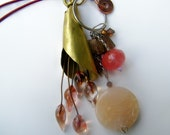 reserved for Yammerman ,24 inch Neclace , brass,  lampwork bead tassel, melon, peach agate