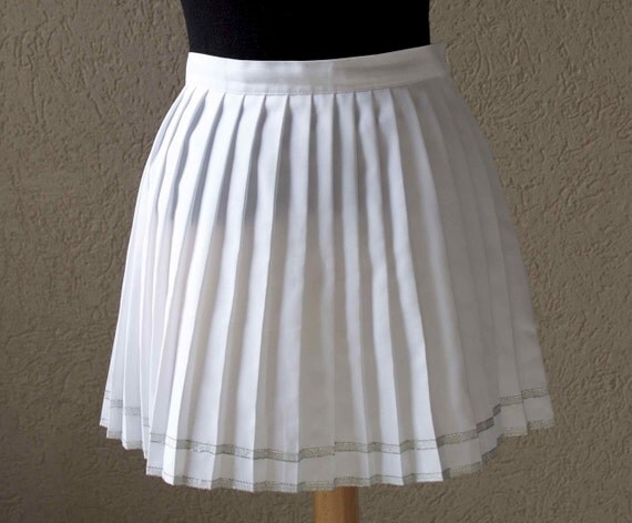 vintage white pleated tennis skirt xs s