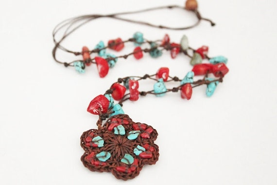Turquoise & coral Wax Cord Necklace/ Hippie/ boho chic/Handmade