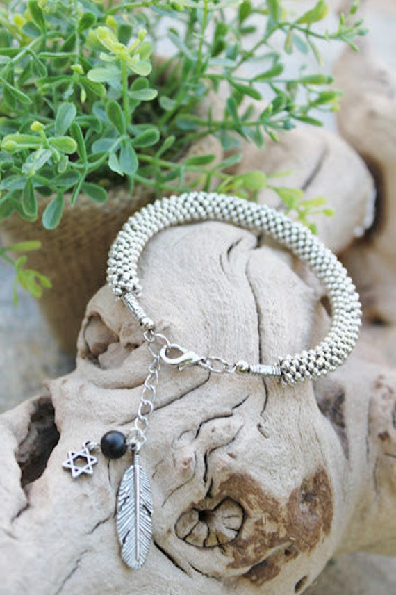 Pure tibetan silver  tiny beads bangle bracelet/ Free people/boho chic/ jewish symbol/one of a kind