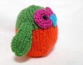 Hand Knit Owl Plush Ready To Ship Orange and Green