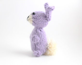 Hand Knit Bunny Plush Lavender Ready To Ship