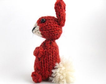 Hand Knit Bunny Plush Brick Red Ready To Ship