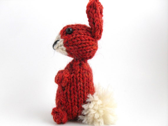 Hand Knit Bunny Plush. Brick Red Rabbit. Bunny Toy. Bunny Stuffie. Knit Rabbit. Woodland Plush. Ready To Ship. Gifts Under 10.