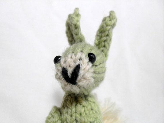 Hand Knit Bunny Plush Spring Green Ready To Ship