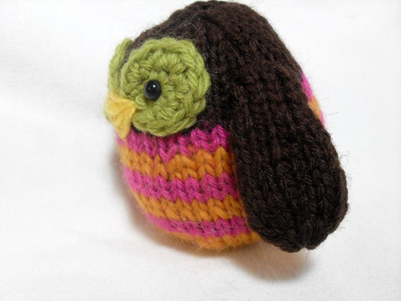 Hand Knit Owl Plush Ready To Ship Brown Mustard and Pink