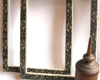 antique frame pair black and white gesso floral motif - never used