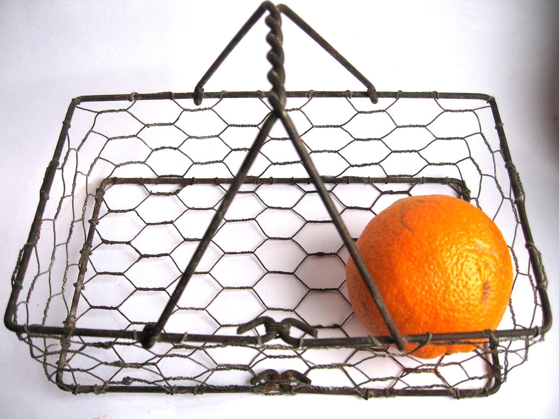 Vintage Rectangular Chicken Wire Basket With Handle