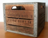 RESERVED - Vintage Wood and Metal Dairy Crate - for Sebastien