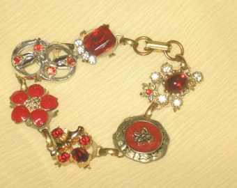 Vintage Earring Bracelet/Shades of Red/Free Shipping