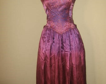 Vintage Gunne Sax Jessica McClintock Purple Gown/Dress Retro 1970s/Sz S