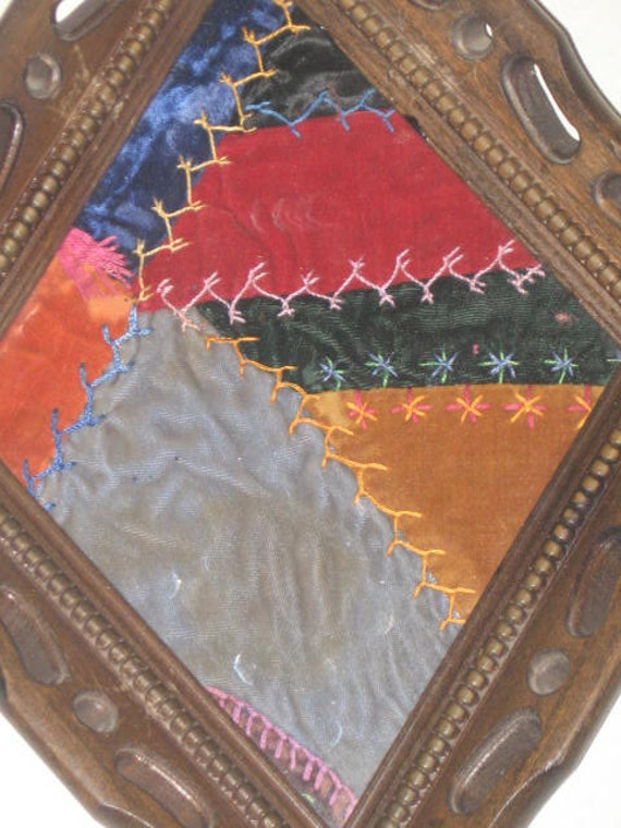 ANTIQUE Framed Velvet Crazy Quilt
