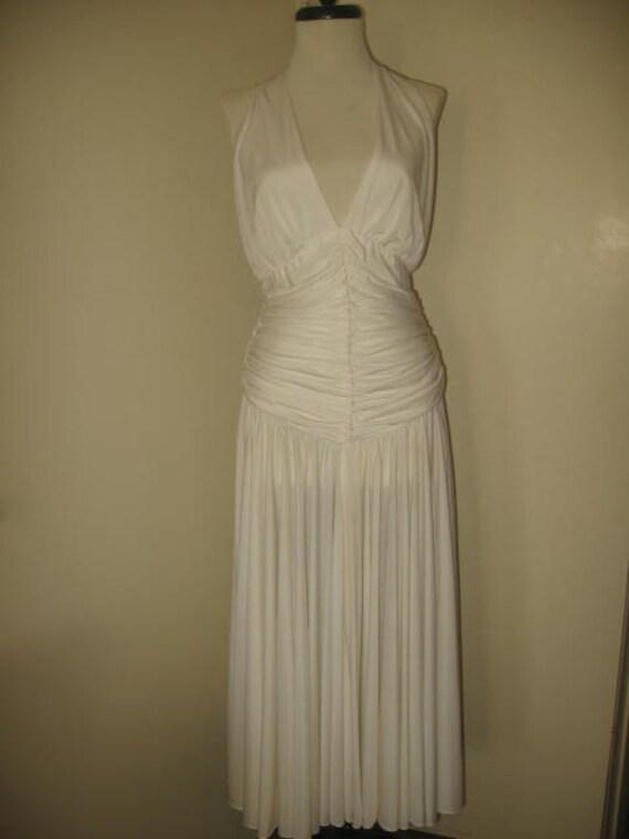 Vintage Casadie White Coffin Style Evening Gown/SZ 8