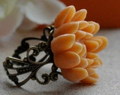 Pumpkin Lotus Flower and Filigree Ring / Adjustable Brass Ring / Free Shipping